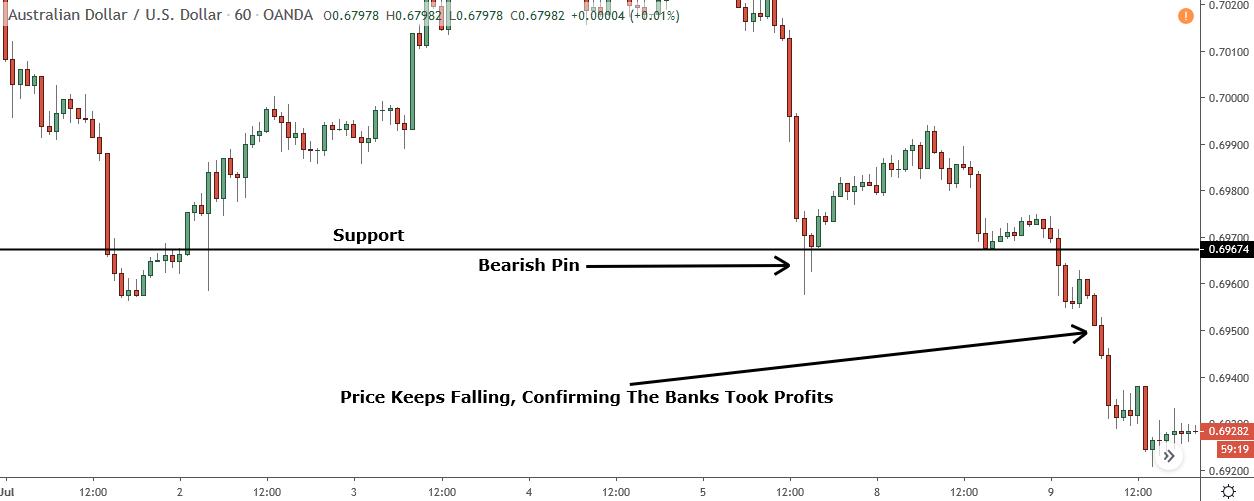bearish pin bar forming at support level
